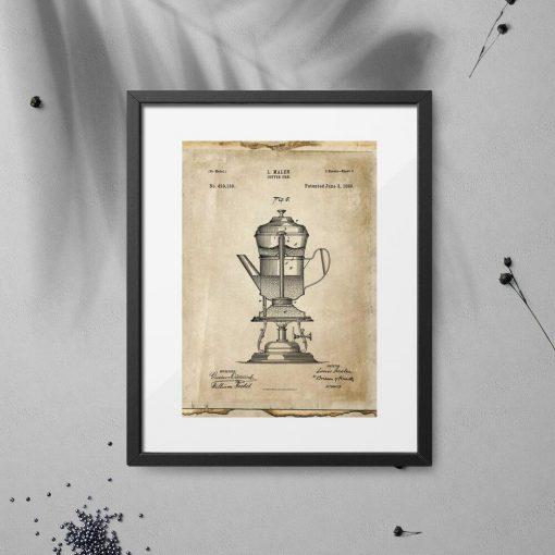 Plakat patent na ekspres do kawy do dekoracji kawiarni