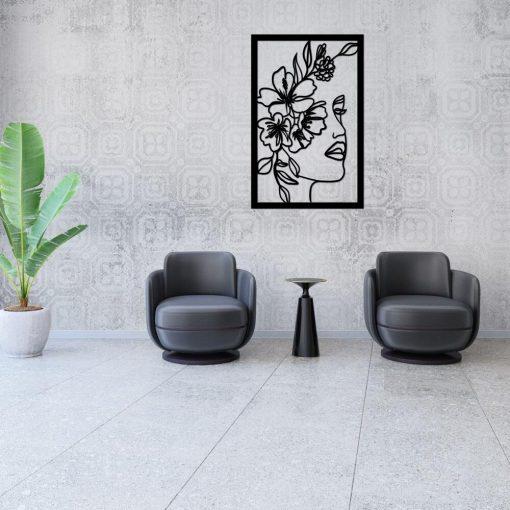Line art i kwiaty - dekor 3d