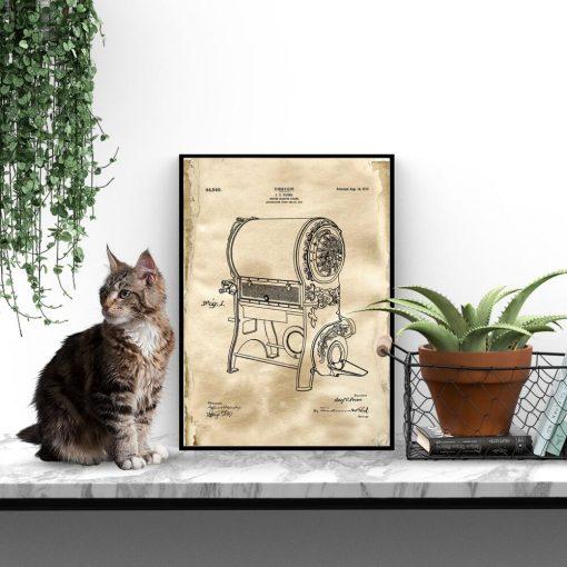 Plakat z rysunkiem patentowym pieca do kawy do jadalni