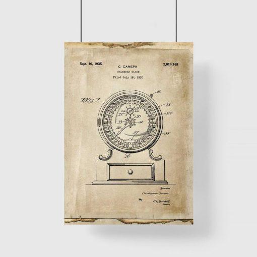 Plakat vintage z ryciną kalendarza