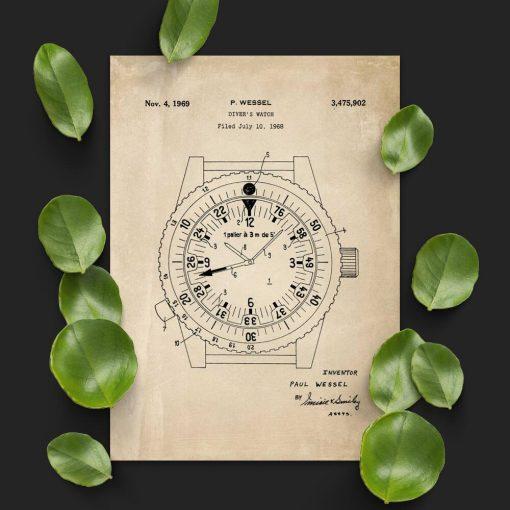 Plakat retro z licencją na produkcje zegarków dla nurków