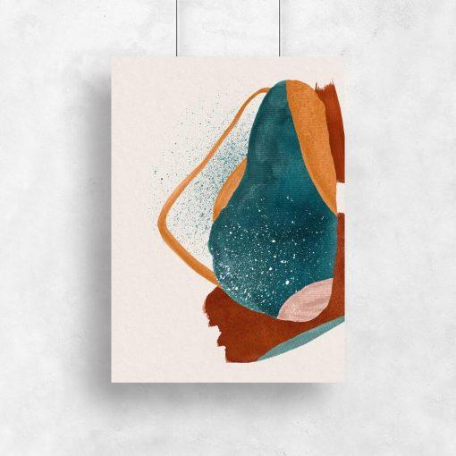 Artystyczny plakat z abstrakcją w kolorze pomarańczowym do salonu