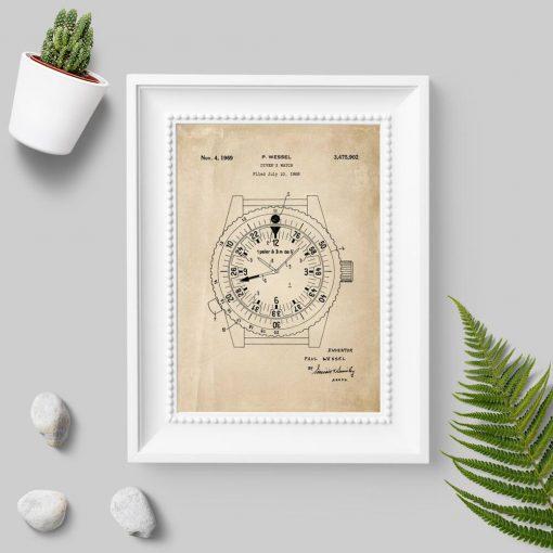 Plakat z zegarkiem dla nurka - patent 1969r.
