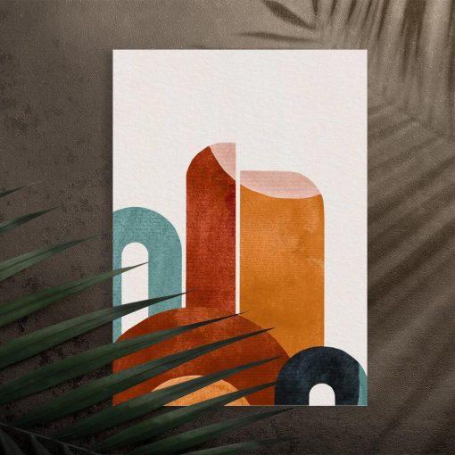 Abstrakcja na plakacie w zielono-brązowych kolorach