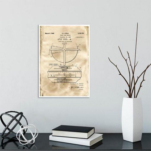 Plakat - Rysunek patentowy zegara z datownikiem do gabinetu