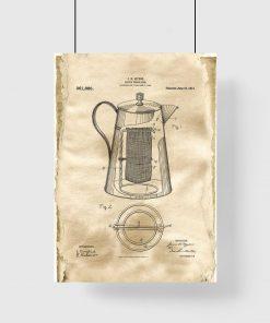 Poster z patentem na kawiarkę do jadalni