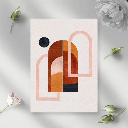 Plakat z abstrakcyjnymi oknami i kropką w tonacji czekolady