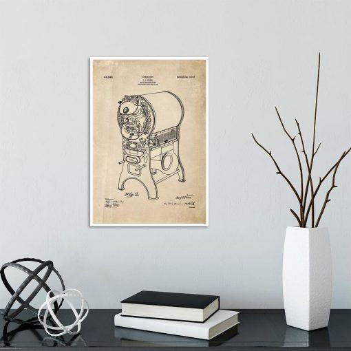 Plakat - Rysunek opisowy urządzenia do prażenia kawy do jadalni