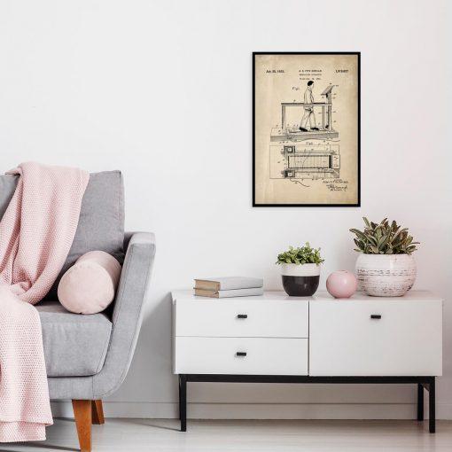 Plakat z reprodukcją patentu na bieżnię do salonu