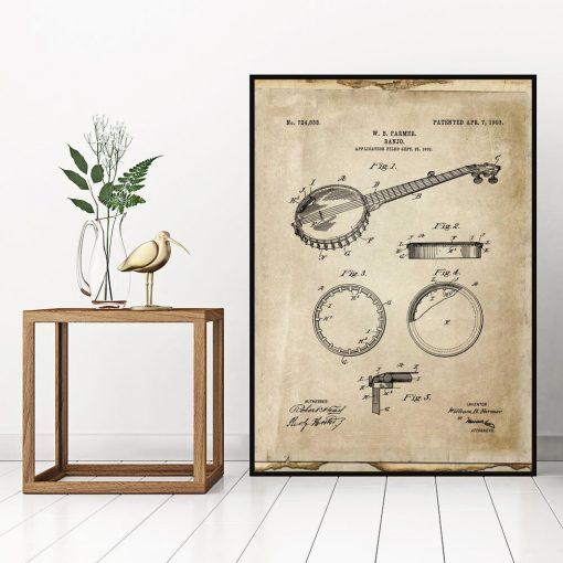 Plakat z rysunkiem patentowym bandżo do biura