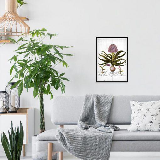 Plakat - Fioletowe kwiaty na deskach do salonu