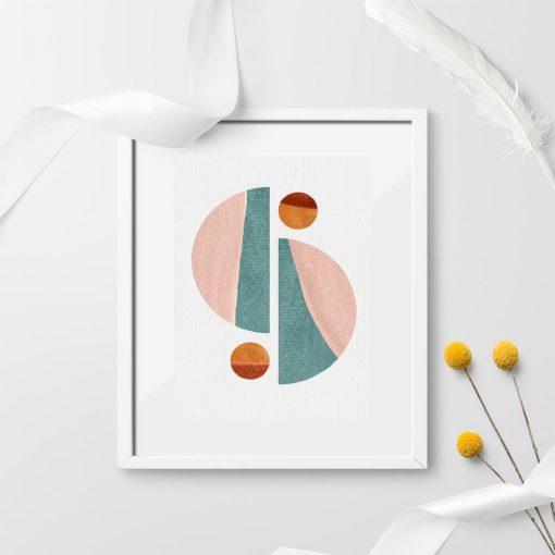 Plakat z pastelowymi figurami geometrycznymi do ozdoby biura