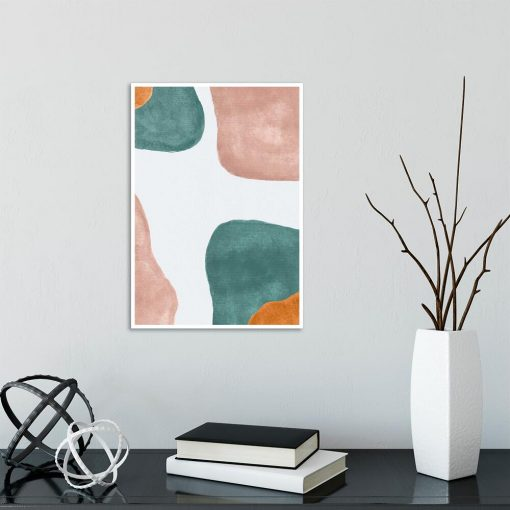 Beżowy plakat z pastelowymi plamami do przedpokoju