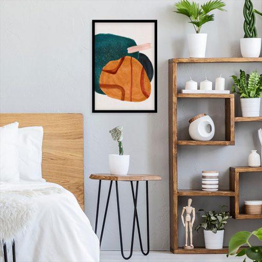 Plakat z plamą w kolorze pomarańczowym do sypialni