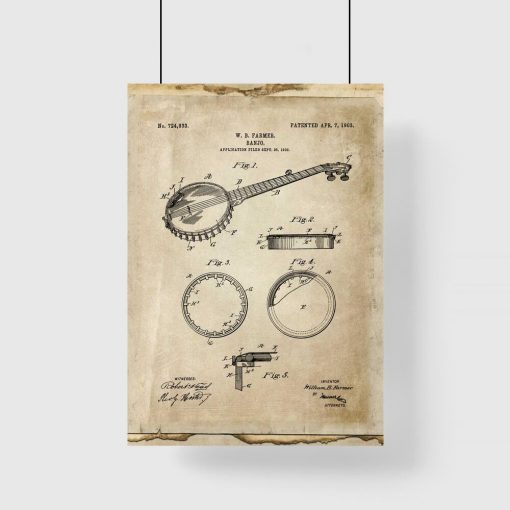 Plakat z rysunkiem patentowym bandżo do sypialni