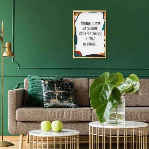 Typograficzny plakat w kolorze turkusowym do salonu