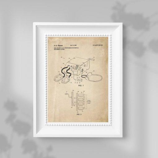 Plakat z rysunkiem patentowym defibrylatora