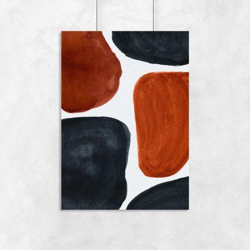 Abstrakcyjny plakat z rudymi plamami na przedpokój