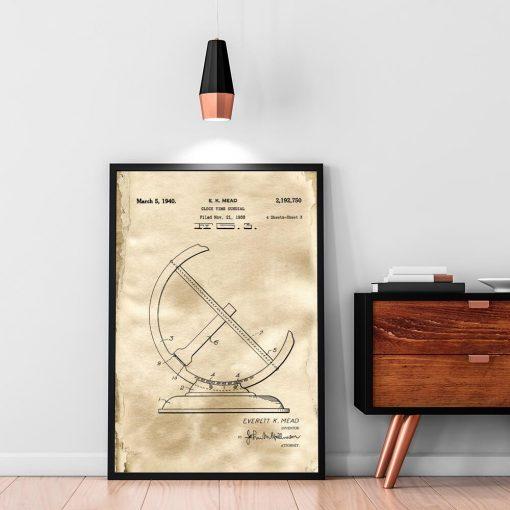 Plakat dla miłośnika historii - Patent na zegar słoneczny do kawiarni