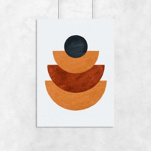 Plakat z figurami geometrycznymi w rudych tonacjach