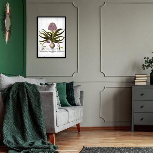 Plakat - Fioletowe kwiaty na deskach do sypialni