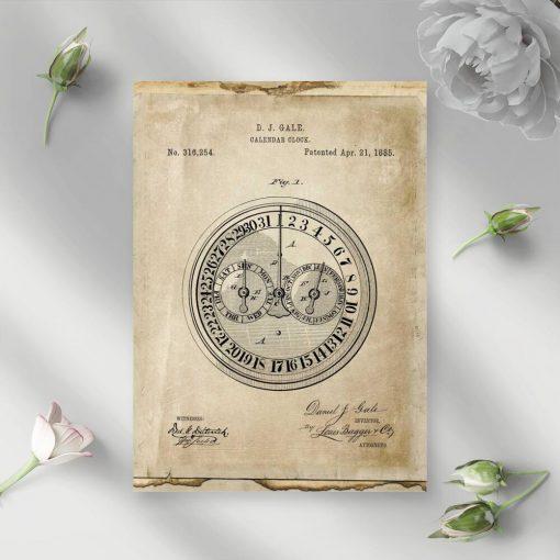 Poster z patentem na zegar kalendarzowy