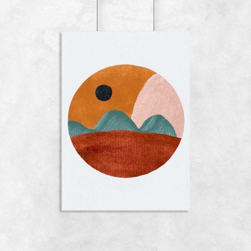 Plakat z brunatnym pejzażem do jadalni