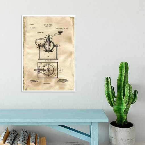 Plakat do kafeterii z rysunkiem patentowym młynka do kawy do jadalni