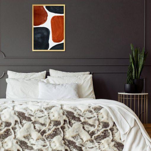 Abstrakcyjny plakat z rudymi plamami do sypialni