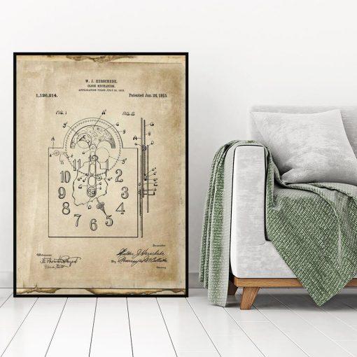 Plakat z reprodukcja rysunku opisowego zegara do salonu