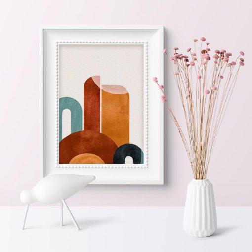 Plakat w czekoladowych kolorach z abstrakcją