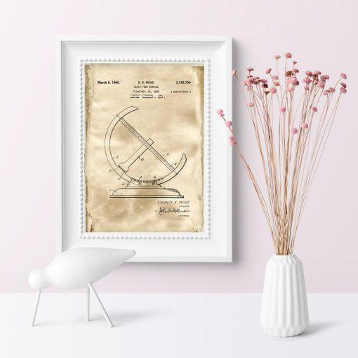 Plakat dla miłośnika historii - Patent na zegar słoneczny do sypialni