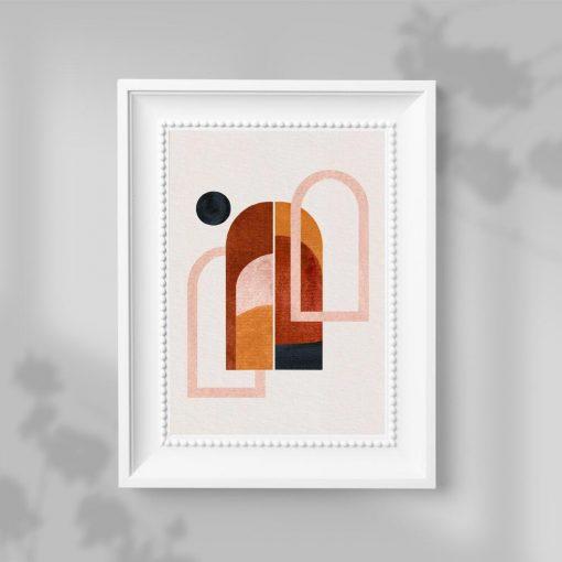 Plakat trzy okna i czarna kropka w kolorze brązowym