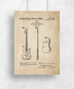 Plakat z patentem gitary basowej do salonu