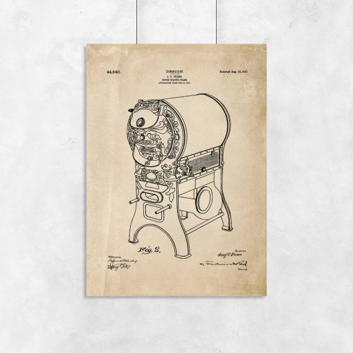 Plakat - Rysunek opisowy urządzenia do prażenia kawy do kawiarni