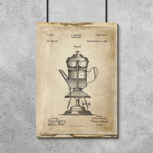 Plakat ze szkicem ekspresu do kawy - prototyp