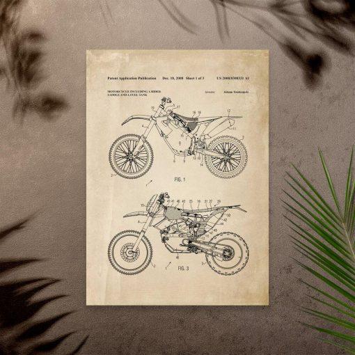 Plakat z projektem motocykla rajdowego - patent