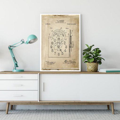 Plakat z reprodukcja rysunku opisowego zegara do sypialni