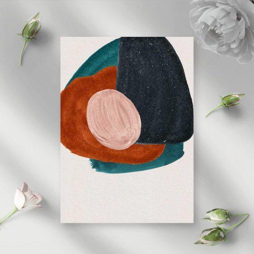 Plakat z kolorowymi plamami