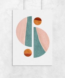 Plakat połówki kuli i kule w pastelowych kolorach