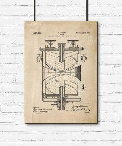 Plakat w sepii z rysunkiem patentowym kuchenki