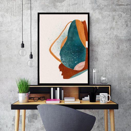 Artystyczny plakat z abstrakcją w kolorze pomarańczowym do sypialni