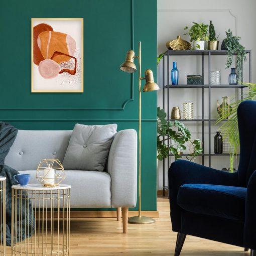 Abstrakcyjny plakat z beżową akwarelą do sypialni