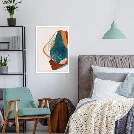 Artystyczny plakat z abstrakcją w kolorze pomarańczowym do gabinetu