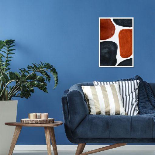 Abstrakcyjny plakat z rudymi plamami do salonu