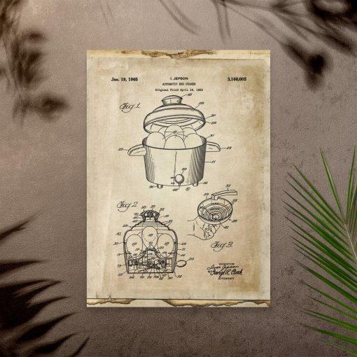 Plakat vintage z modelem urządzenia do gotowania jajek
