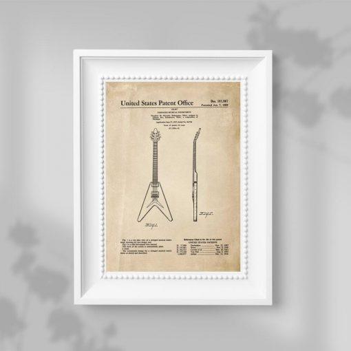Plakat retro z patentem na gitarę do oprawienia w ramę