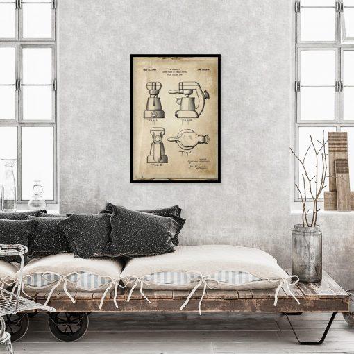 Plakat z rysunkiem opisowym ekspresu do kawy do restauracji