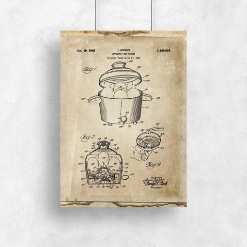 Plakat w sepii z atestem na produkcję urządzenia kuchennego