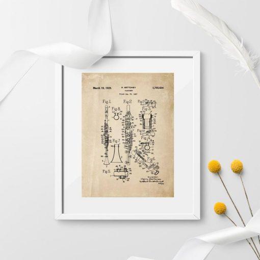 Plakat projekt produkcji klarnetu - patent